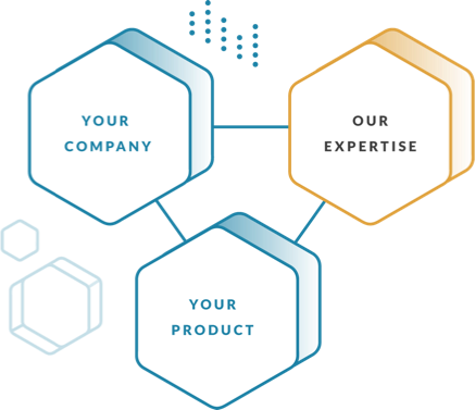 three icons that say your company, our expertise, and your product - the three features of working with Oak City Labs mobile app and software development agency in raleigh nc